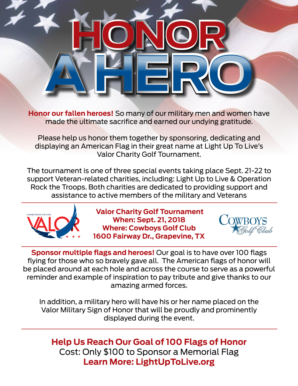 Honor A Hero With Memorial Flag At Valor Golf Tournament Light Addition Of Forces
